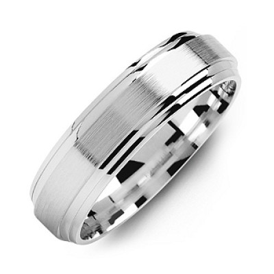 Classic Two-Line Milled-Brush Men's Solid White Gold Ring