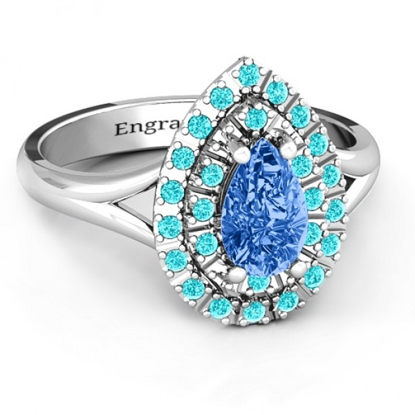 Cleopatra Double Halo Solid White Gold Ring