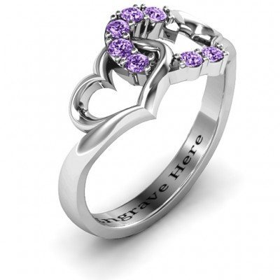 Connecting Hearts Solid White Gold Ring