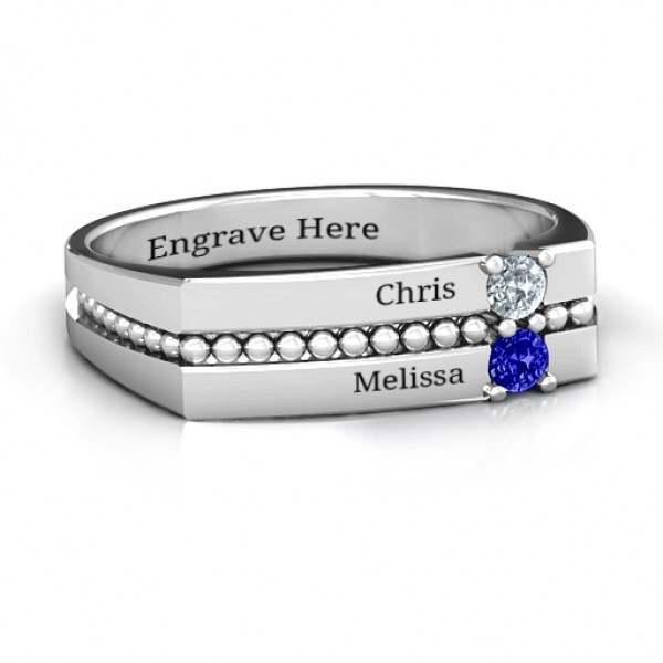 Crevice Beaded Women's Solid White Gold Ring