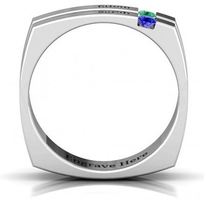 Crevice Grooved Square-shaped Gemstone Men's Solid White Gold Ring