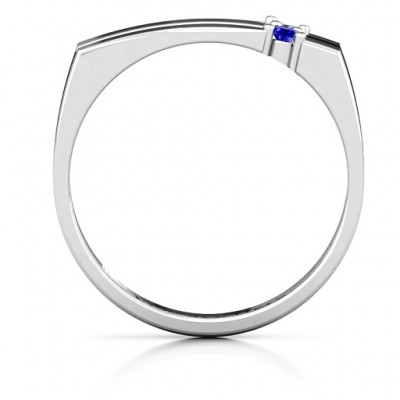 Crevice Grooved Women's Solid White Gold Ring