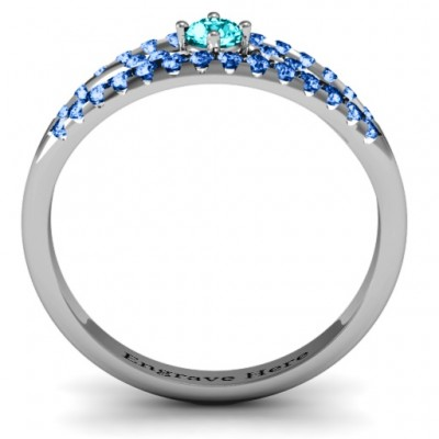 Crown Accent Solid White Gold Ring