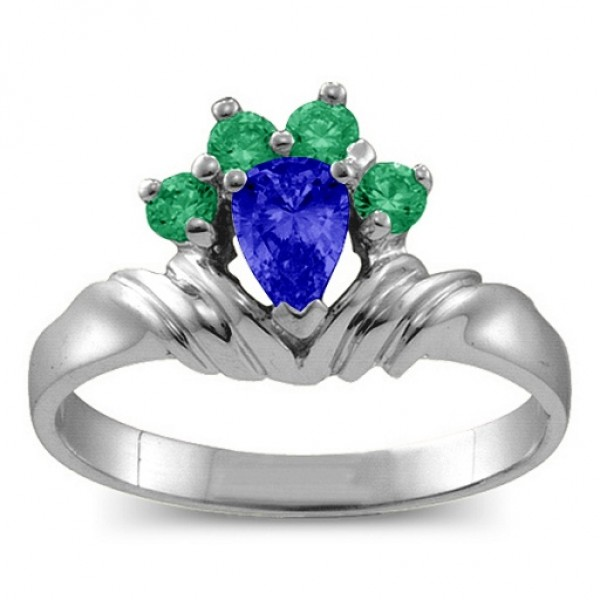 Crown Pear 2-8 Stones Solid White Gold Ring