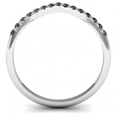Crown Shape Accent Solid White Gold Ring