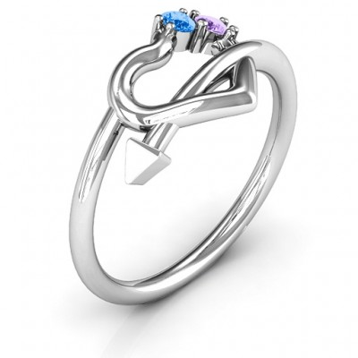 Cupid's Hold Love Solid White Gold Ring