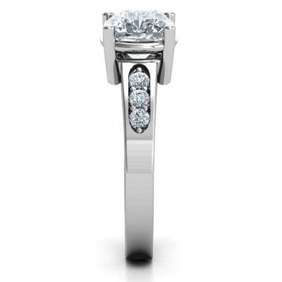 Cushion Cut Solitaire with Accents Solid White Gold Ring