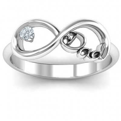 Dad Infinity Solid White Gold Ring