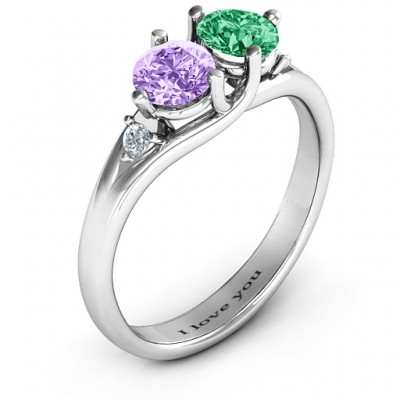 Darling Duo Double Gemstone Solid White Gold Ring