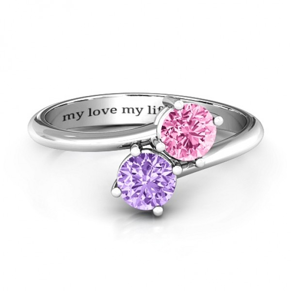 Destined For Love Double Gemstone Solid White Gold Ring