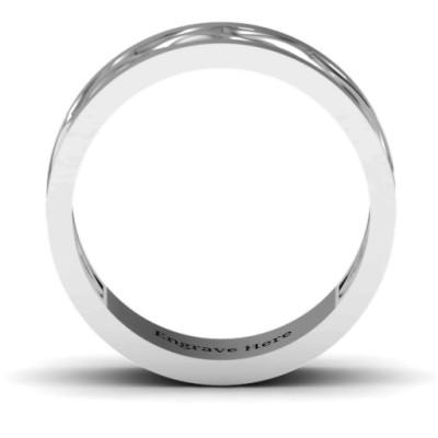 Diadem Infinity Men's Solid White Gold Ring
