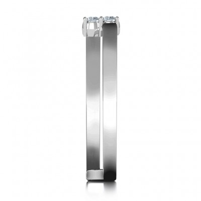Diagonal Dazzle Solid White Gold Ring With 2-3 Gemstones