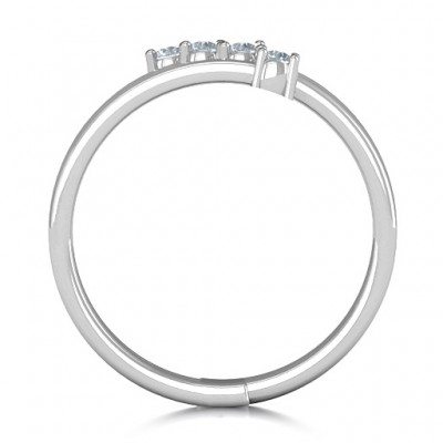 Diagonal Dazzle Solid White Gold Ring With 4-5 Gemstones