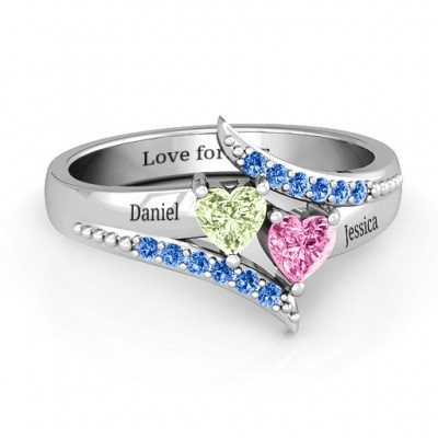 Diagonal Dream Solid White Gold Ring With Heart Stones