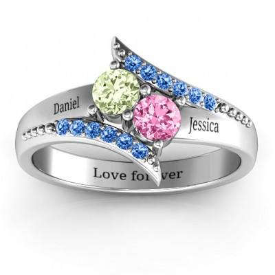 Diagonal Dream Solid White Gold Ring With Round Stones