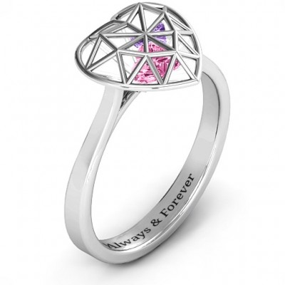Diamond Heart Cage Solid White Gold Ring With Encased Heart Stones