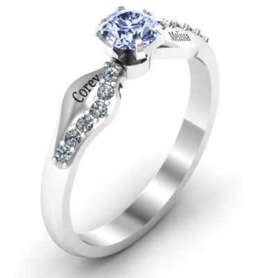 Dimpled Solitaire with Accents Solid White Gold Ring