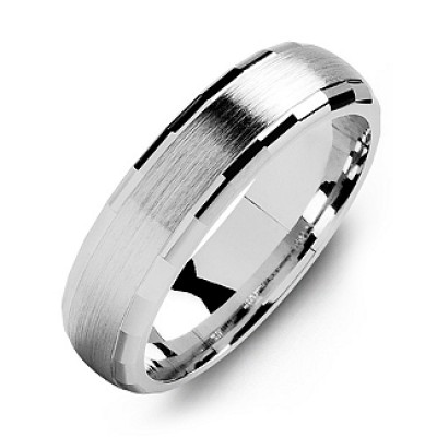 Dome-Shaped Brushed Men's Solid White Gold Ring with Baguette Edges