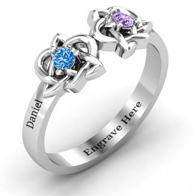 Double Celtic Gemstone Solid White Gold Ring