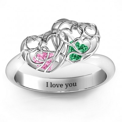 Double Heart Cage Solid White Gold Ring with 1-6 Heart Shaped Birthstones