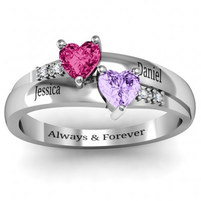 Double Heart Gemstone Solid White Gold Ring with Accents