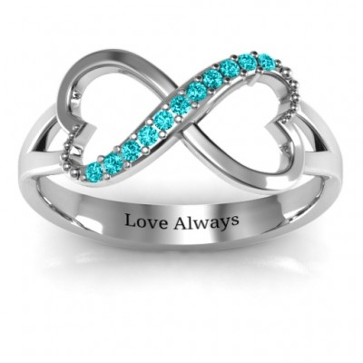 Double Heart Infinity Solid White Gold Ring with Accents