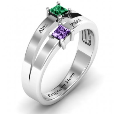 Double Princess Cut Solid White Gold Ring