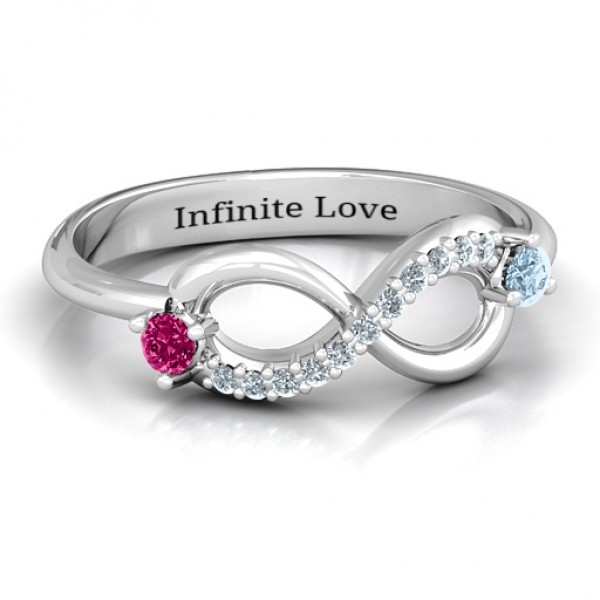 Double Stone Infinity Accent Solid White Gold Ring