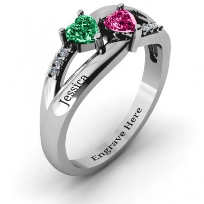 Dual Hearts with Accents Solid White Gold Ring