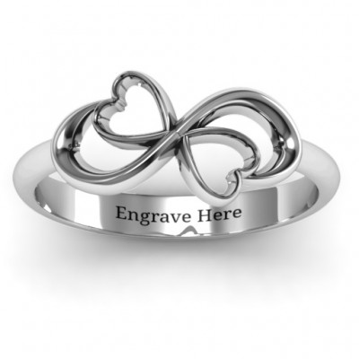 Duo of Hearts Infinity Solid White Gold Ring
