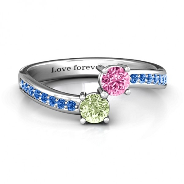Elegant Accent Two Stone Solid White Gold Ring