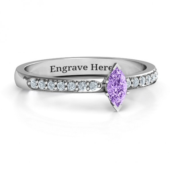 Elegant Marquise with Accent Band Solid White Gold Ring