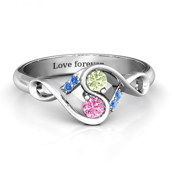 Element of Infinity Two Stone Solid White Gold Ring