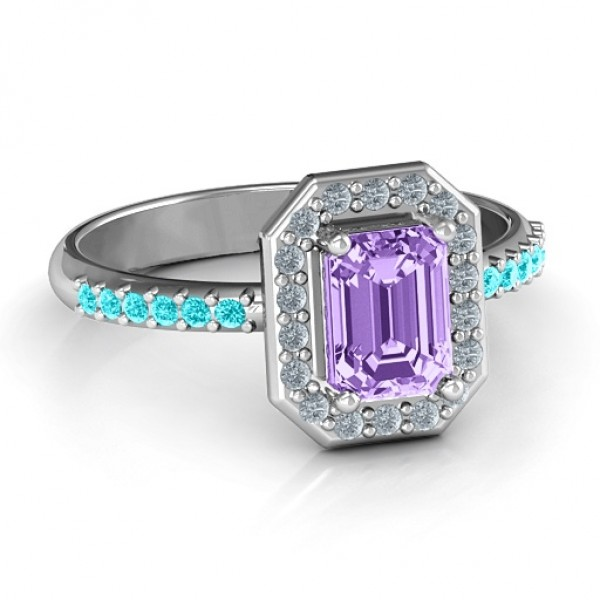 Emerald Cut Cocktail Solid White Gold Ring with Halo