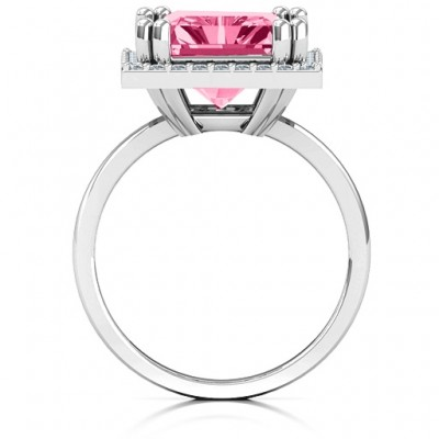 Emerald Cut Statement Solid White Gold Ring with Halo