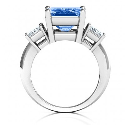 Emerald Cut Trinity Solid White Gold Ring