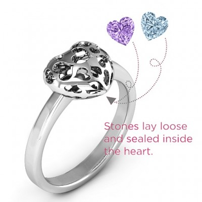Encased in Love Petite Caged Hearts Solid White Gold Ring with Infinity Band