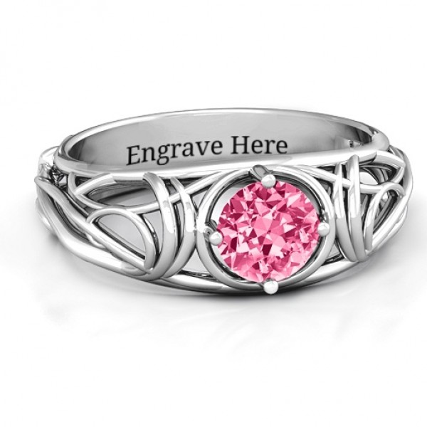 Enchanting Tangle of Love Solid White Gold Ring