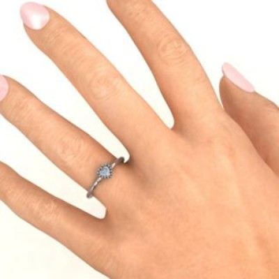 Encircled Prong Heart Solid White Gold Ring