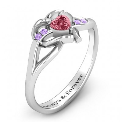 Endless Romance Engravable Heart Solid White Gold Ring