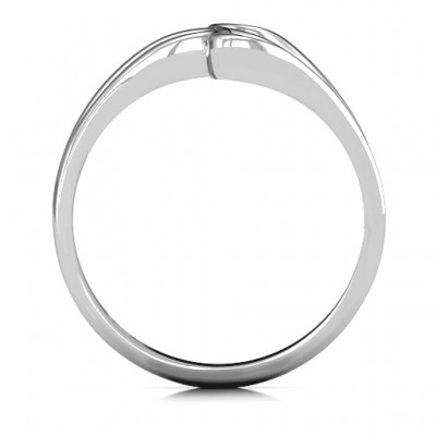 Eternal Elegance Three-Stone Solid White Gold Ring