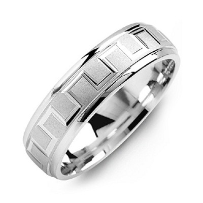 Eternal Greek Key Men's Solid White Gold Ring