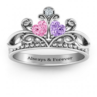 Ever Enchanted Double Heart Tiara Solid White Gold Ring