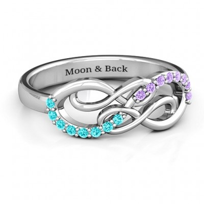 Everlasting Infinity Solid White Gold Ring with Gemstones