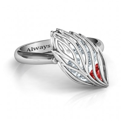 Exquisite Elm Cage Leaf Solid White Gold Ring