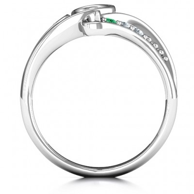 Family Flair Solid White Gold Ring With 2-6 Birthstones