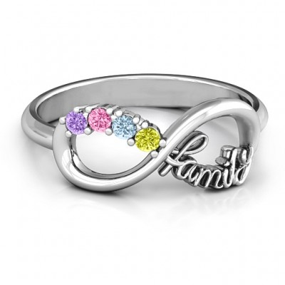 Family Infinite Love with Stones Solid White Gold Ring