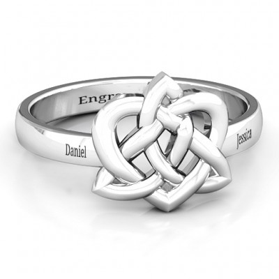 Fancy Celtic Solid White Gold Ring
