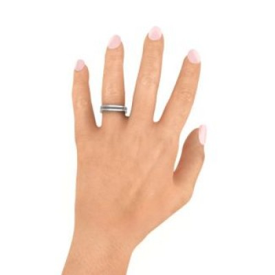 Fissure Beaded Groove Women's Solid White Gold Ring