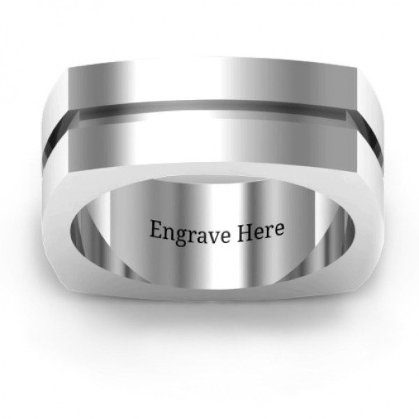 Fissure Grooved Square-shaped Men's Solid White Gold Ring